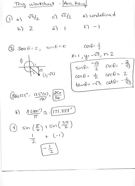 Trigonometry Review Worksheet by 13 Best Images Of Unit Circle Worksheet With Answers