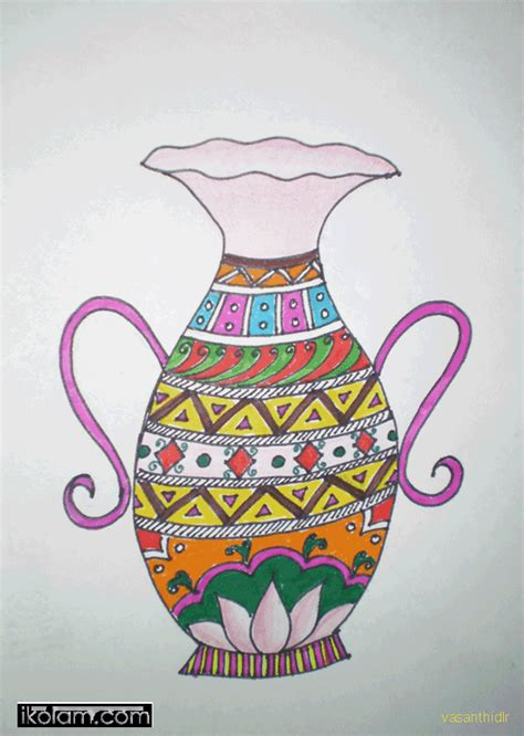 Vase Drawing For by Rangoli Flower Vase Regular Www Ikolam