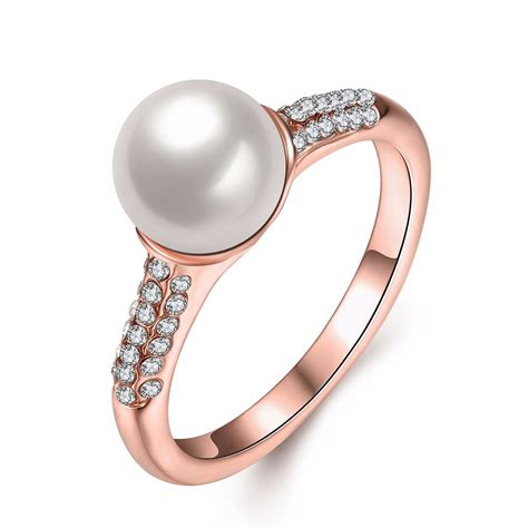 Rhinestone Ring simple gold pearl rhinestone ring gift for