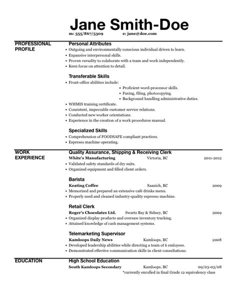 resume exle word document template bengenuity