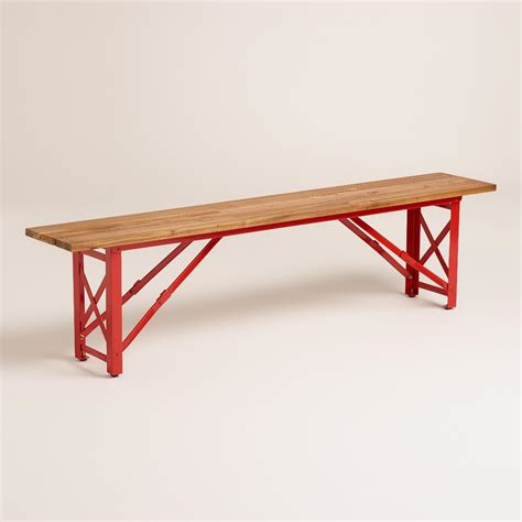 red patio bench red beer garden dining bench world market