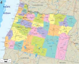 county map with cities and roads political map of oregon ezilon maps