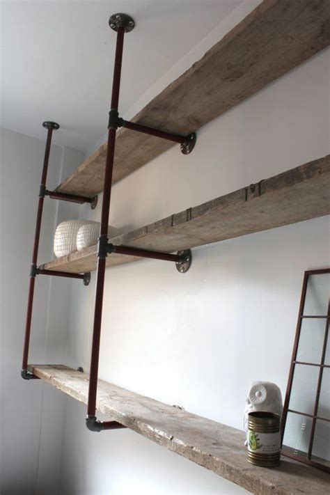 attach bookcase to wall reclaimed scaffolding boards and steel pipe wall mounted
