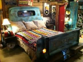 repurposed truck parts headboard and footboard for