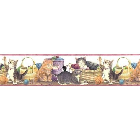 Kittens cats playing with yarn wall border all 4 walls wallpaper