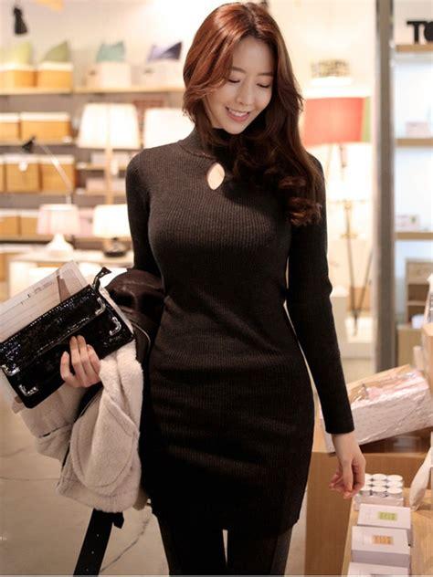 Promo Korean Style Bodycon Dress Quinn ulzzang fashion style korean slim sleeved high collar plus size black knit bodycon