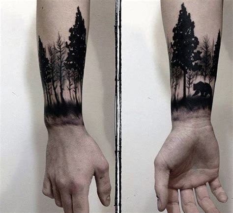 bear tree tattoo forest with awesome mens wrist tattoos