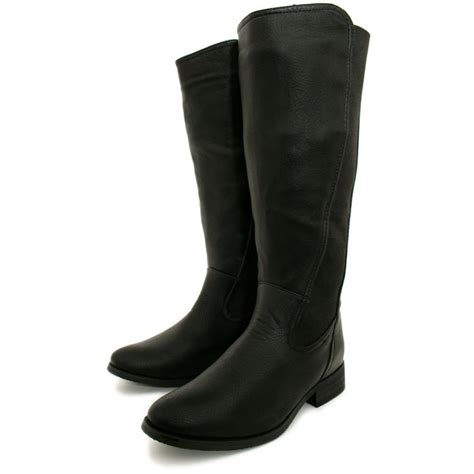 wide calf knee high boots womens black leather style stretch wide calf flat knee