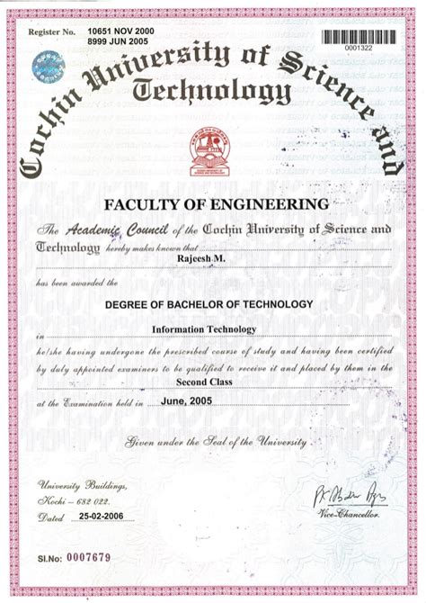 Technical Mba Degree by Rm B Tech Degree Certificate Attested