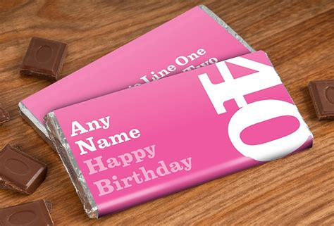 personalised chocolate bar 40th birthday for her