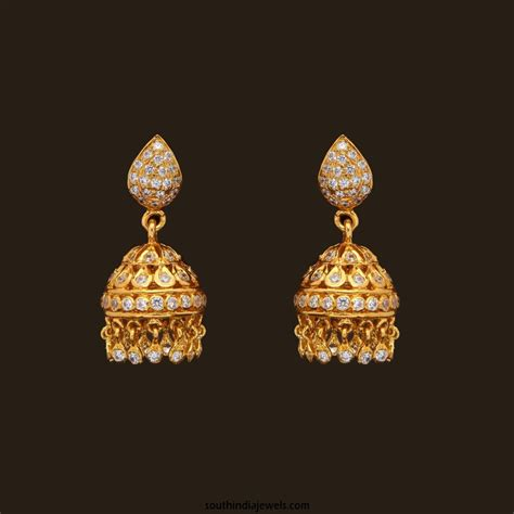 jhumka design images gold stone jhumka from vbj south india jewels
