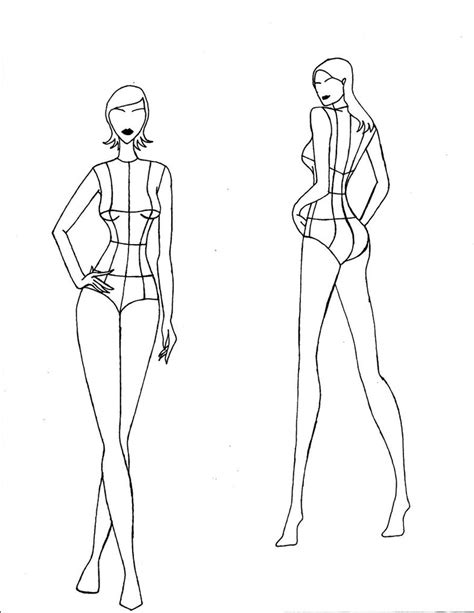 fashion templates front and back realistic croquis front and back views by