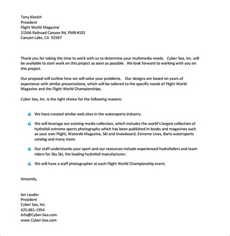 sle business proposal letter exles cover letter