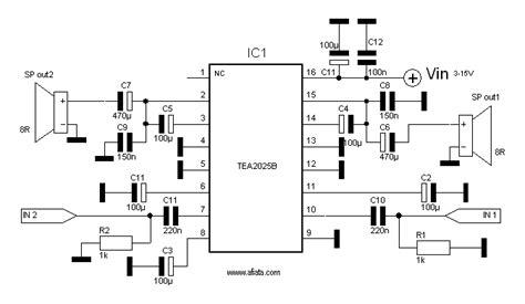 Ic Tea2025b Tea 2025 B Tea2025 circuit audio using tea2025b electronic circuit diagram