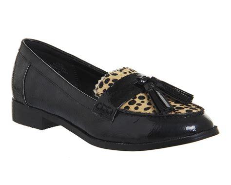 leopard womens loafers womens office pinball tassel loafers leopard black flats