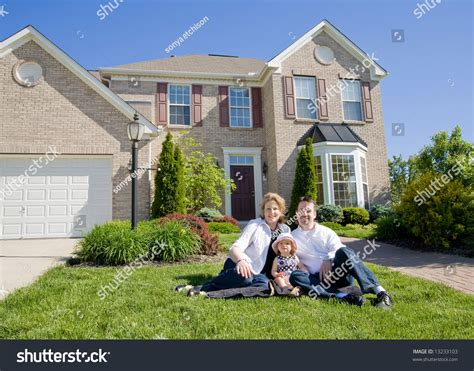 Family In Front Of House by Family Front House Stock Photo 13233103
