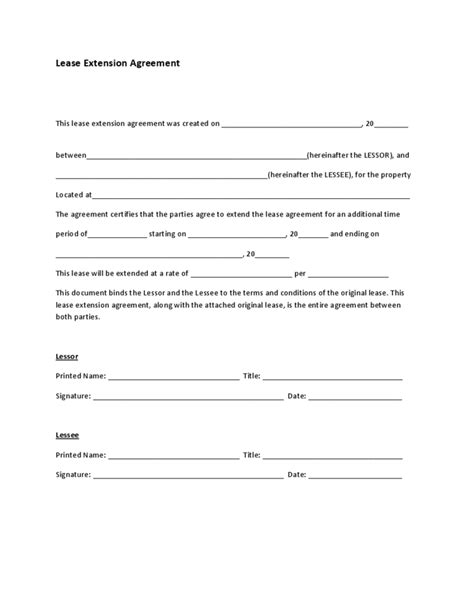 Letter Template For Lease Extension Lease Extension Agreement Form Free
