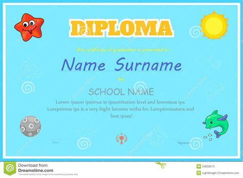 preschool kids diploma certificate design template stock