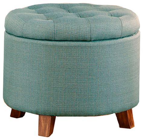 round fabric storage ottoman shop houzz poundex associates corp accent organizer round storage ottoman upholstered fabric
