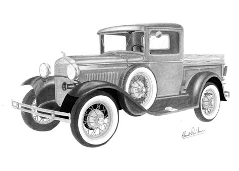 Route 66 Home Decor by Ford Model A 1930 Drawing By Claude Prud Homme