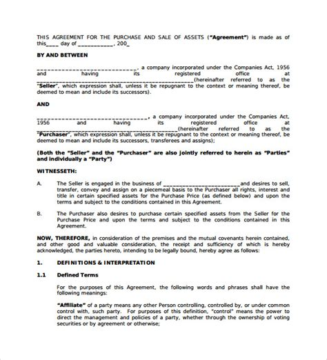 business purchase template sle business purchase agreement 9 documents in pdf word