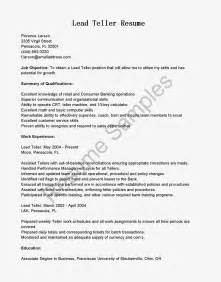 Teller Resume Template by Resume Sles Lead Teller Resume Sle