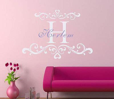 custom made wall stickers custom made name wall decal personalized name and initial vinyl wall monogram decal you