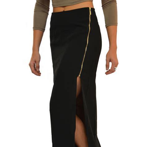 Black Zipper Skirt skirts black open slit side zipper maxi skirt poshmark