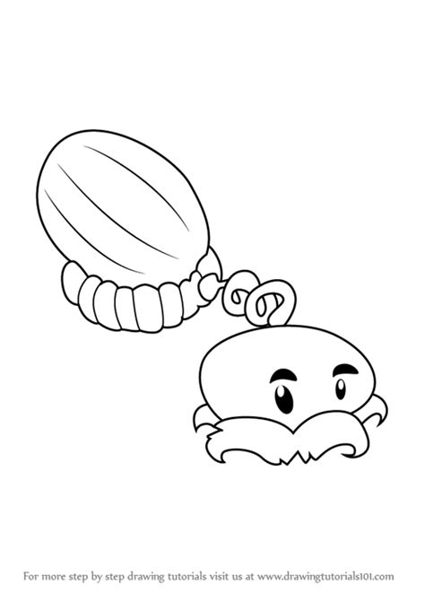 watermelon plant coloring page learn how to draw melon pult from plants vs zombies