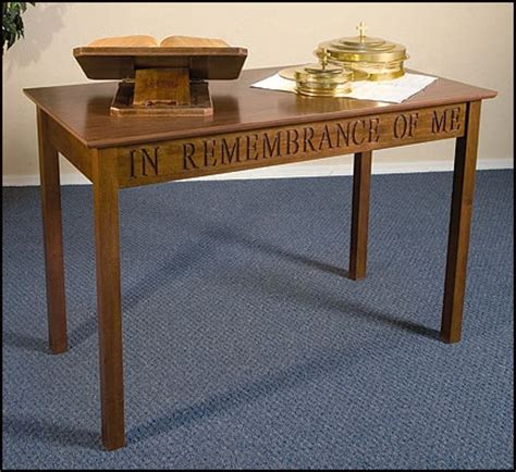 in remembrance of me table communion credence table church furniture robert smith