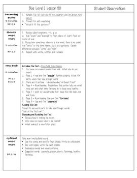 Leveled Literacy Intervention Lli Blue Level L Lesson Plan Templates Reading Intervention Plan Template