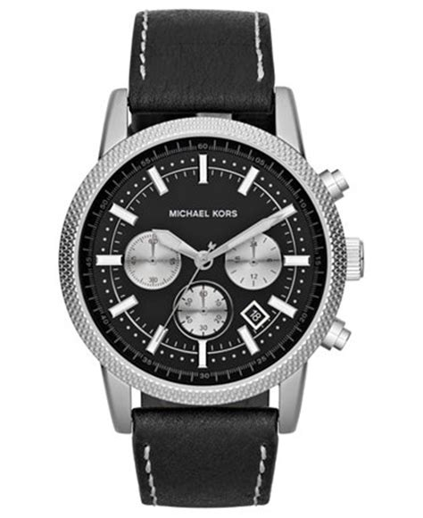 michael kors s chronograph scout black leather