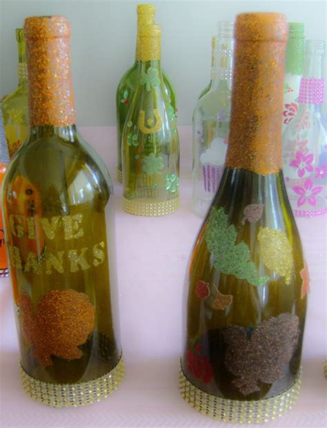 Decoupage Glass Bottles - decorating glass bottles with glitter decoupage etc