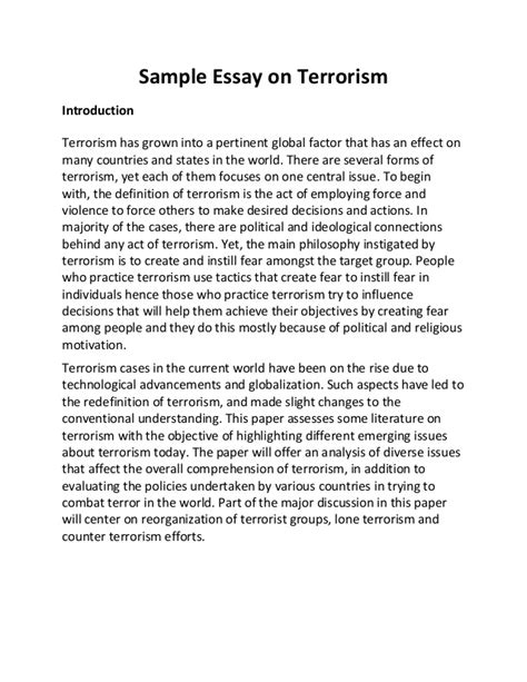 Terrorism Essay by College Essays College Application Essays Terrorism Essay In