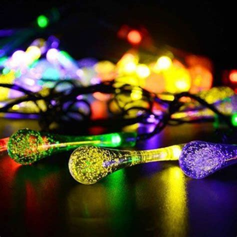 solar powered raindrop string lights 30 led battery powered raindrop fairy string light outdoor