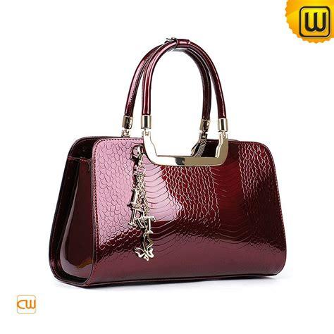 Handmade Leather Purses And Handbags - shiny red women leather tote handbags what i like