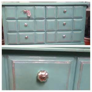 diy chalk painted turquoise dresser using calcium