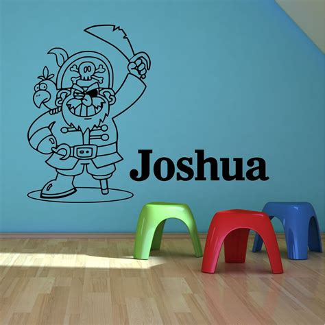 personalised bedroom wall stickers personalised name pirate boys bedroom wall stickers decals transfers murals