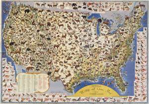pictorial map of the united states pictorial wildlife map of the united states map collection