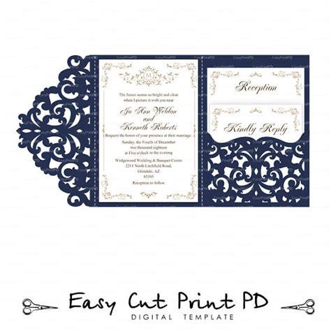 tri fold card cricut template wedding invitation set of tri fold lace pocket envelope 5x7