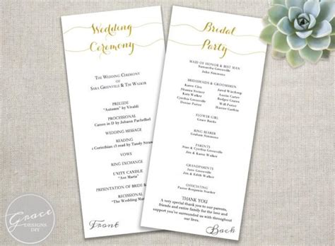 gold wedding programs script calligraphy style tall