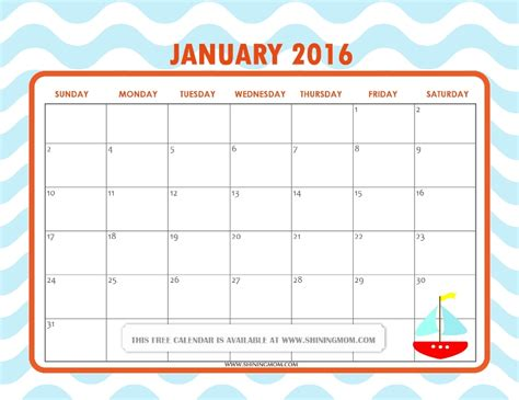 free printable cute planner 2016 all lovely free printable january 2016 calendars