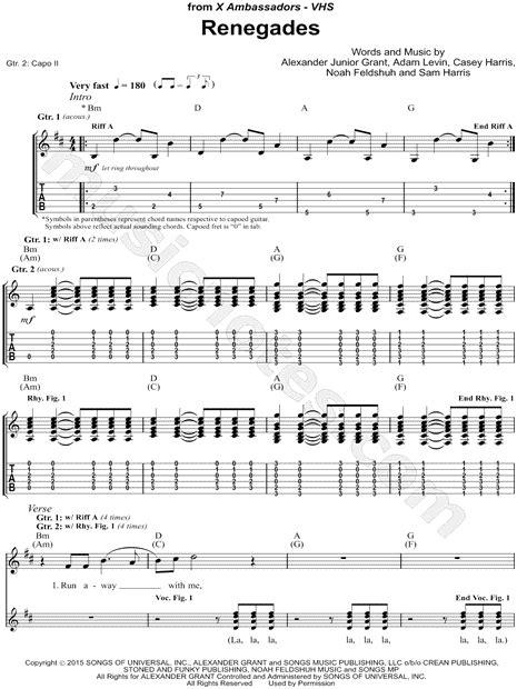 Guitar Chords X Ambassadors Renegades