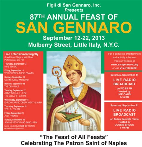 Feast Release September 22 by Feast Of San Gennaro September 12 22 Murphguide Nyc