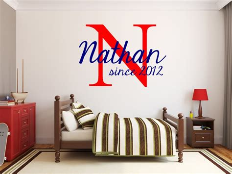 boys wall stickers for bedrooms varsity name monogram nursery room vinyl wall decal boys bedroom decor
