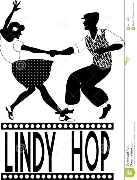 swing hop lindy hop silhouette stock vector image 44228471