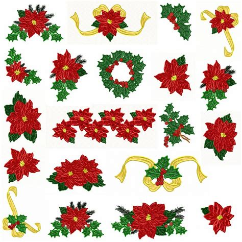 poinsettia designs and pointsettia machine embroidery designs by sew