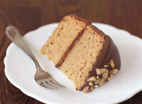 guilt free peanut butter cake with chocolate frosting dwb