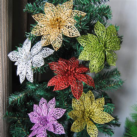 new year floral decorations 10pcs glitter hollow flower decoration flowers