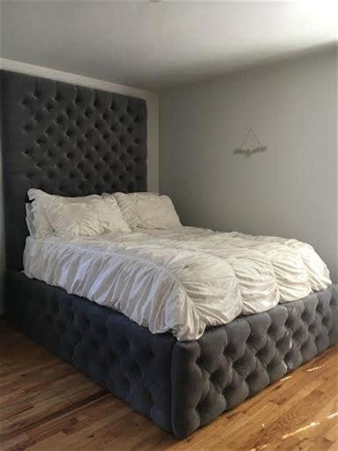 velvet diamond tufted headboard  tufted bed frame set